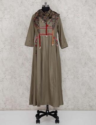 Olive green cotton long salwar suit