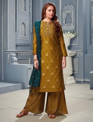 Olive green cotton silk festive wear punjabi palazzo suit