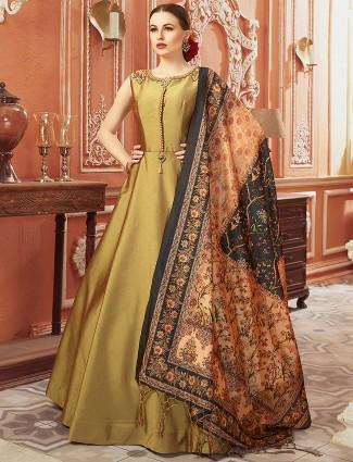 Olive green cotton silk floor length anarkali salwar suit