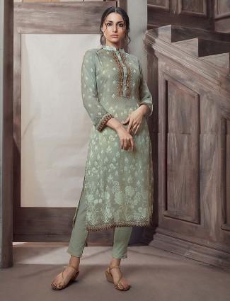 Olive green punjabi salwar suit in cotton fabric
