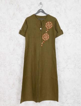 Olive hue cotton kurti