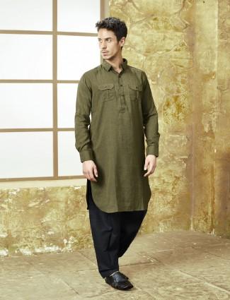 Olive hue festive wear pathani suit