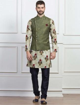 Olive hue raw silk fabric waistcoat set
