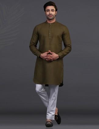 Olive linen kurta pajama for festive