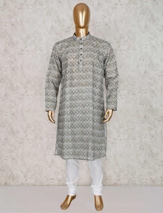 Olive printed cotton kurta suit in festive