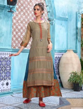 Olive stripe design round neck double layer kurti