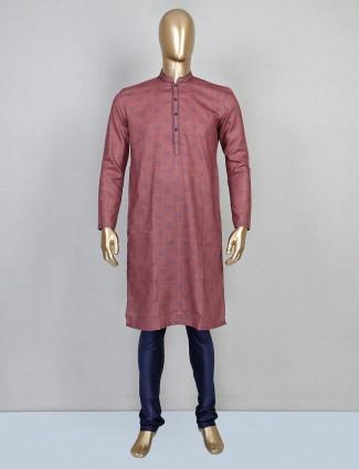 Onion pink printed kurta suit in cotton