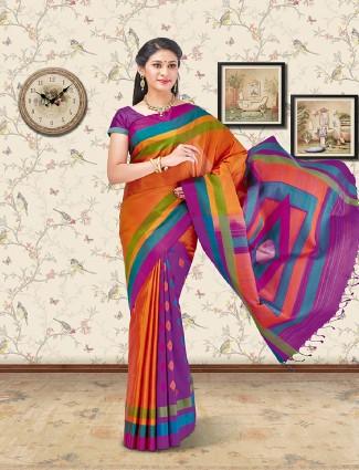 Orange and purple color soft silk saree