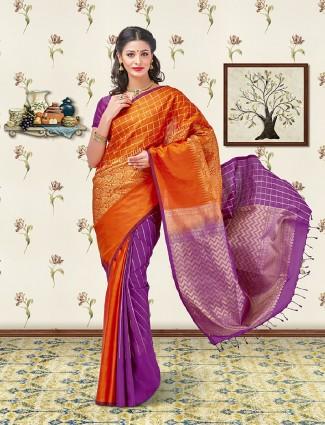 Orange and purple soft silk saree