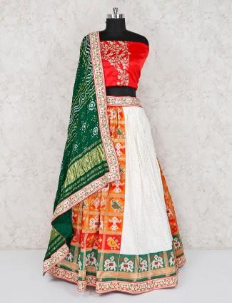 Orange and white patola silk wedding semi stitched lehenga choli