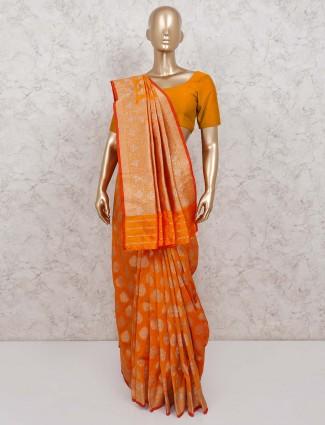 Orange banarasi silk saree for wedding