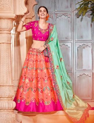 Orange banarasi silk wedding wear semi stitched lehenga choli