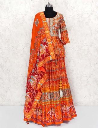 Orange color cotton silk peplum style lehenga cum suit