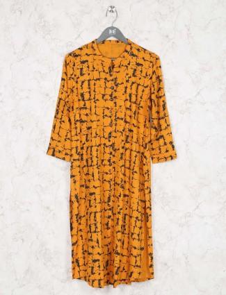 Orange colored kurti in cotton