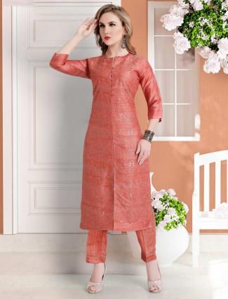 Orange cotton silk festive wear punjabi pant suit