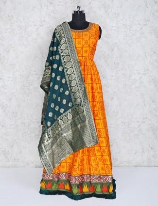 Orange cotton silk wedding wear anarkali suit
