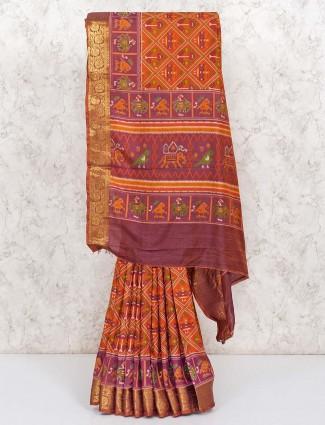 Orange patola printed design cotton silk saree