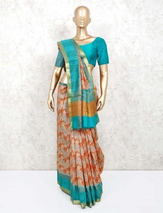 Orange printed semi silk saree