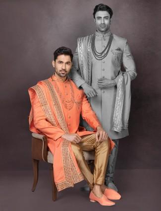 Orange raw silk thread woven mens indo western