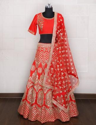 Orange silk wedding wear unsttiched lehenga choli