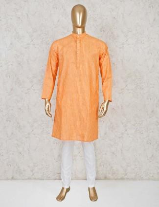 Orange stripe cotton kurta suit