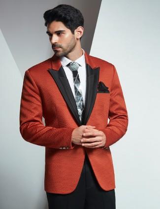 Orange terry rayon party wear coat suit