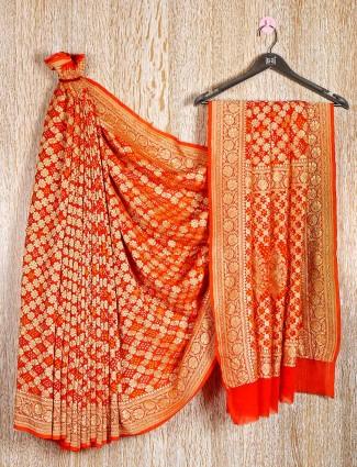 Orange wedding occasion latest saree