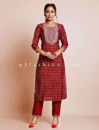 Pant style maroon cotton salwar kameez