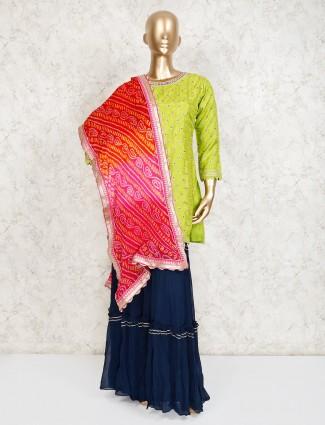 Parrot green cotton silk festive punjabi sharara suit