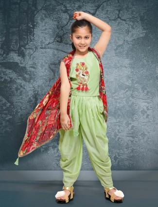 Parrot green raw silk farbric punjabi dhoti suit