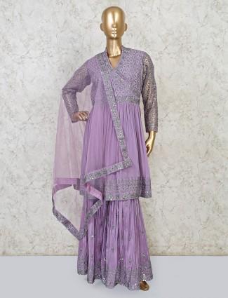 Part wear violet sharara suit in georgette
