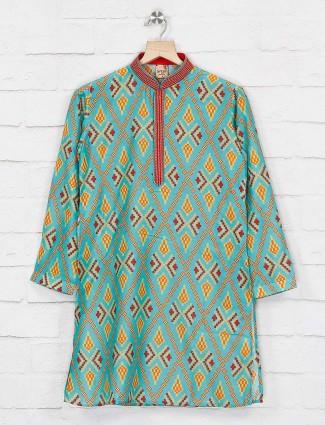 Party wear aqua hue printed kurta suit