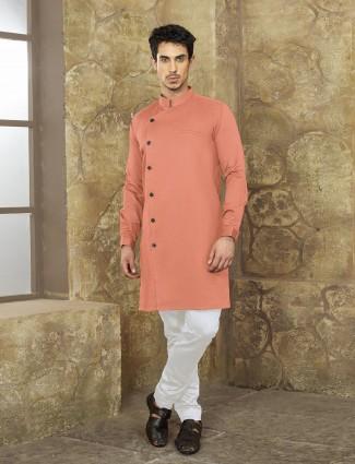Party wear coral peach kurta suit