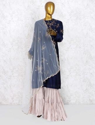 Party wear cotton silk navy hue punjabi sharara suit
