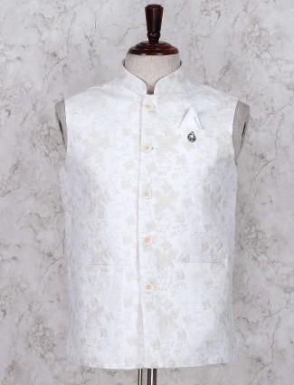 Party wear cream hued linen fabric waistcoat