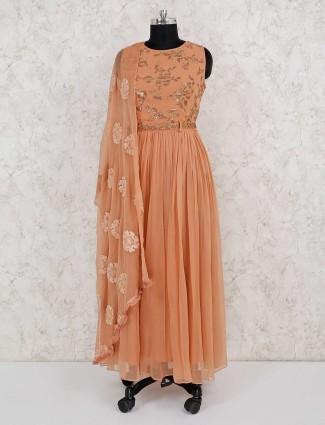 Party wear georgette peach salwar suit