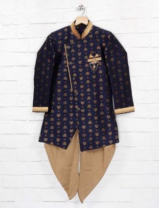 Party wear navy hue silk fabric indo western