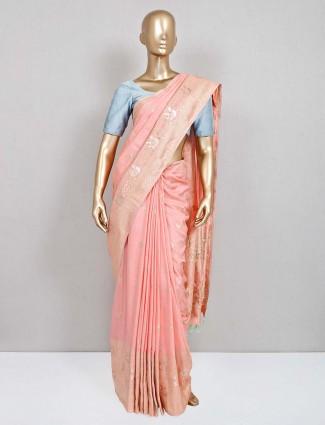 Party wear peach saree in semi silk