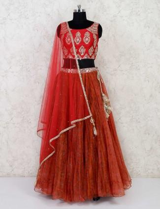 Party wear tissue silk red and rust orange lehenga choli