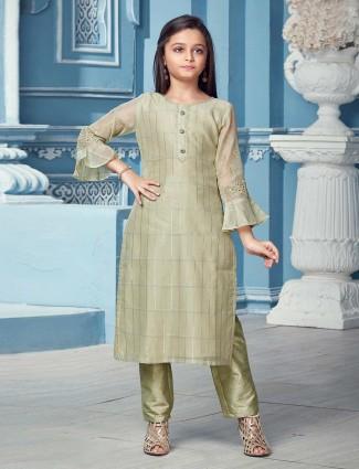 Pastel green quarter sleeves punjabi salwar suit