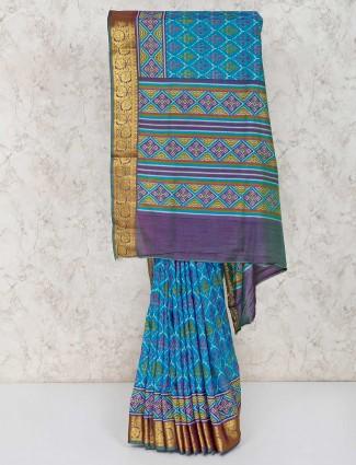 Patola printed blue cotton silk sari