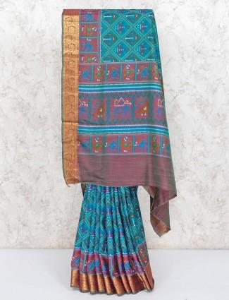 Patola printed green cotton silk saree