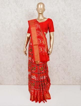 Patola silk adorable red saree in wedding