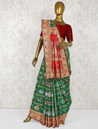 Patola silk green wedding saree