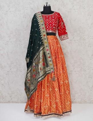 Patola silk red and orange wedding lehenga choli