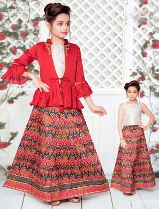 Patola silk red peplum style lehenga suit