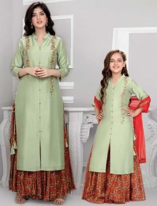 Pista green cotton silk mother daughter combo lehenga suit for festival