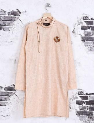 Peach color cotton kurta suit