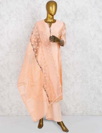 Peach color cotton silk fabric punjabi salwar suit