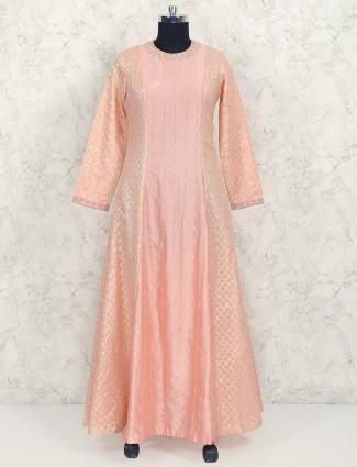 Peach color cotton silk festive floor length anarkali suit